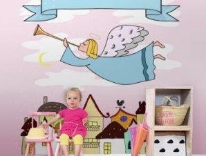 Άγγελος στην πόλη Παιδικά Ταπετσαρίες Τοίχου 100 x 100 εκ.