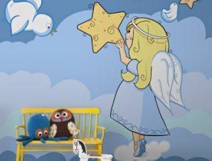 Αγγελάκι κρατά ένα αστέρι Παιδικά Ταπετσαρίες Τοίχου 120 x 85 cm