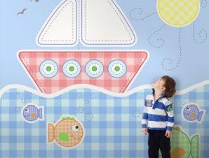 Βαρκούλα στη θάλασσα Παιδικά Ταπετσαρίες Τοίχου 100 x 100 cm