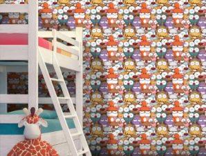 Μοτίβο με ζωάκια Παιδικά Ταπετσαρίες Τοίχου 100 x 100 cm