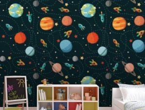 Μοτίβο με πλανήτες Παιδικά Ταπετσαρίες Τοίχου 100 x 100 εκ.