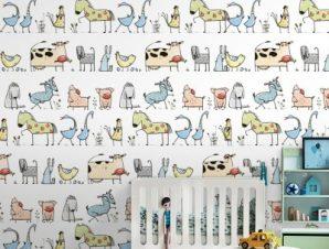 Ζωάκια Παιδικά Ταπετσαρίες Τοίχου 100 x 100 cm