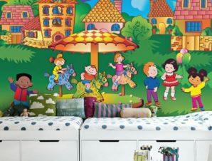 Παιδιά γύρω από καρουζέλ Παιδικά Ταπετσαρίες Τοίχου 100 x 100 εκ.
