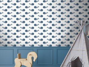Φάλαινες Παιδικά Ταπετσαρίες Τοίχου 100 x 100 cm