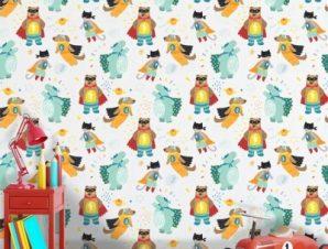 Σούπερ Ζωάκια Παιδικά Ταπετσαρίες Τοίχου 100 x 100 cm