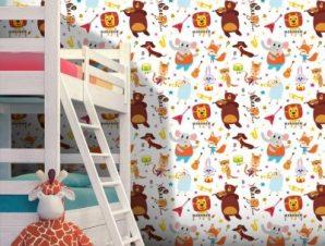 Ζωάκια Μουσικοί Παιδικά Ταπετσαρίες Τοίχου 100 x 100 cm