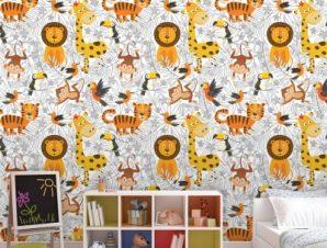 Μοτίβο με ζωάκια Παιδικά Ταπετσαρίες Τοίχου 105 x 105 cm