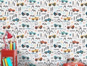 Αγώνας δρόμου αυτοκινητάκια Παιδικά Ταπετσαρίες Τοίχου 100 x 100 εκ.