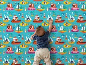 Ζωάκια Καπετάνιοι Παιδικά Ταπετσαρίες Τοίχου 100 x 100 cm