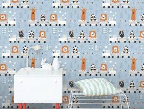 Ζωάκια Σε Τρενάκι Παιδικά Ταπετσαρίες Τοίχου 100 x 100 εκ.