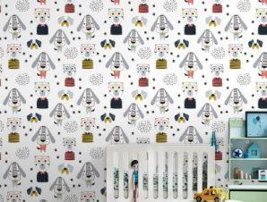 Ζωάκια Παιδικά Ταπετσαρίες Τοίχου 120 x 120 cm