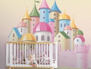 Ροζ παλάτι Παιδικά Ταπετσαρίες Τοίχου 86 x 86 cm