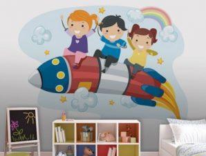 Παιδάκια Πάνω Σε Πύρυαλο Παιδικά Ταπετσαρίες Τοίχου 75 x 100 cm