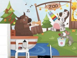 Ζωολογικός Κήπος Παιδικά Ταπετσαρίες Τοίχου 96 x 120 cm