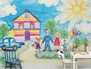Νερομπογίες Παιδικά Ταπετσαρίες Τοίχου 100 x 100 εκ.