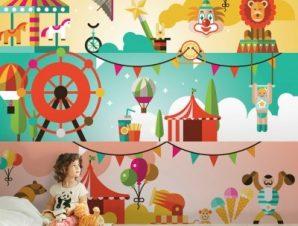 Τσίρκο Παιδικά Ταπετσαρίες Τοίχου 100 x 100 εκ.