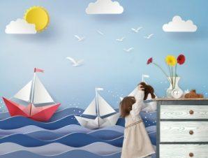 Χάρτινες βαρκούλες στη θάλασσα Παιδικά Ταπετσαρίες Τοίχου 100 x 100 εκ.