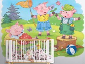 Μικρά Γουρουνάκια Παιδικά Ταπετσαρίες Τοίχου 86 x 120 cm