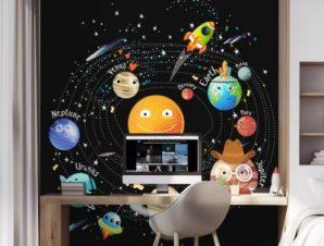 Ηλιακό Σύστημα 2 Παιδικά Ταπετσαρίες Τοίχου 100 x 100 εκ.