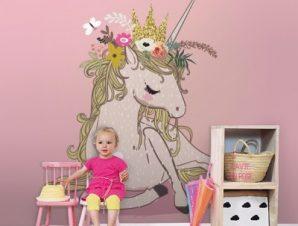 Ροζ μονόκερος Παιδικά Ταπετσαρίες Τοίχου 100 x 100 εκ.
