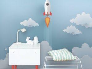 Πύραυλος στα σύννεφα Παιδικά Ταπετσαρίες Τοίχου 100 x 100 εκ.