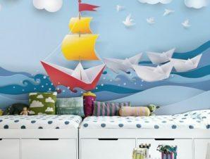 Βάρκες Στην Θάλασσα Παιδικά Ταπετσαρίες Τοίχου 100 x 100 εκ.