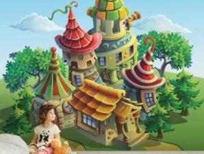 Μαγικά Σπιτάκια Παιδικά Ταπετσαρίες Τοίχου 78 x 130 cm