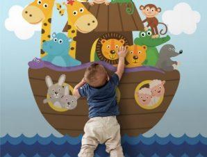 Ζωάκια Σε Βάρκα Παιδικά Ταπετσαρίες Τοίχου 100 x 100 cm