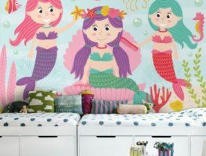 Τρεις Γοργόνες Παιδικά Ταπετσαρίες Τοίχου 80 x 120 cm