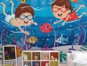 Παίζοντας Με Τα Ψάρια Παιδικά Ταπετσαρίες Τοίχου 95 x 110 cm
