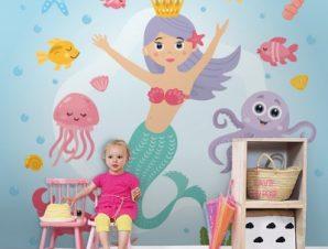 Γοργόνα Στο Βυθό Παιδικά Ταπετσαρίες Τοίχου 100 x 100 cm