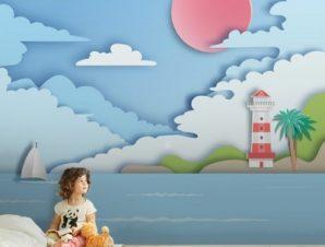 Μπλε Τοπίο Παιδικά Ταπετσαρίες Τοίχου 83 x 110 cm