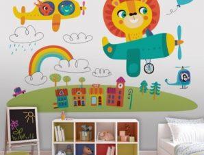 Iπτάμενα Zωάκια Παιδικά Ταπετσαρίες Τοίχου 80 x 120 cm