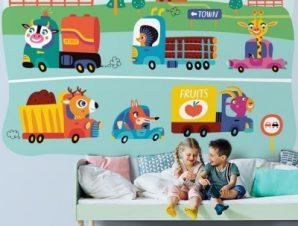 Ζωάκια Με Αυτοκίνητα Παιδικά Ταπετσαρίες Τοίχου 100 x 100 εκ.