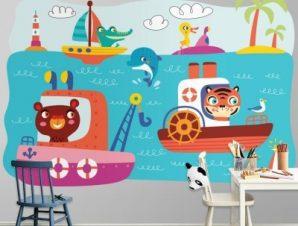 Ζωάκια Σε Βαρκούλες Παιδικά Ταπετσαρίες Τοίχου 80 x 120 cm