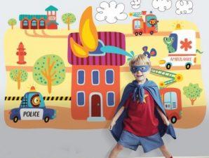 Ζωάκια Πυροσβέστες Παιδικά Ταπετσαρίες Τοίχου 87 x 130 cm
