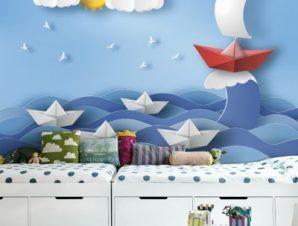 Καραβάκια σε φουρτουνιασμένη Θάλασσα Παιδικά Ταπετσαρίες Τοίχου 100 x 100 εκ.