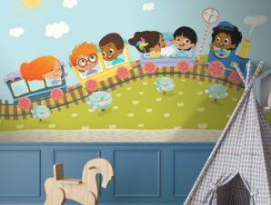 Παιδάκια Σε Τραινάκι Παιδικά Ταπετσαρίες Τοίχου 72 x 120 cm