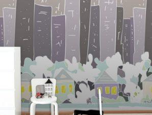 Γκρίζα Πόλη Παιδικά Ταπετσαρίες Τοίχου 100 x 100 εκ.