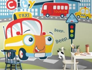 Busy city Taxi Παιδικά Ταπετσαρίες Τοίχου 100 x 100 εκ.