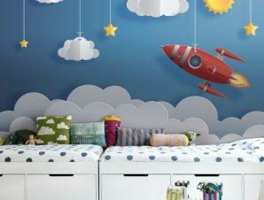 Πύραυλος Παιδικά Ταπετσαρίες Τοίχου 100 x 100 εκ.