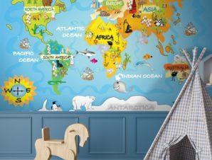 Μικρός χάρτης Παιδικά Ταπετσαρίες Τοίχου 103 x 150 cm