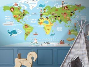 Funny World s Map Παιδικά Ταπετσαρίες Τοίχου 100 x 100 εκ.