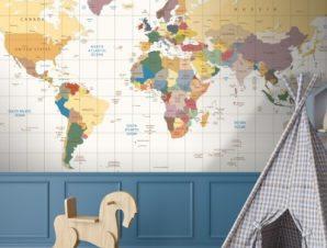 Παγκόσμιος Χάρτης Παιδικά Ταπετσαρίες Τοίχου 68 x 130 cm