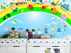 Παιδιά, αυτοκίνητα και ζώα Παιδικά Ταπετσαρίες Τοίχου 100 x 100 εκ.