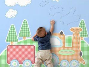 Παιδικό τρενάκι Παιδικά Ταπετσαρίες Τοίχου 100 x 100 εκ.