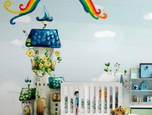 Σπίτια σε σύννεφα Παιδικά Ταπετσαρίες Τοίχου 100 x 100 εκ.
