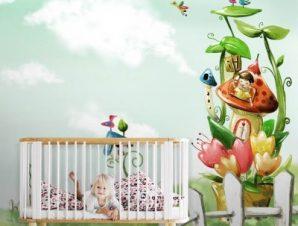 Τοπίο με νεράιδες Παιδικά Ταπετσαρίες Τοίχου 100 x 100 εκ.
