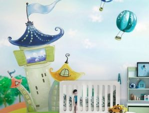 Σπίτια σε ουράνιο τόξο Παιδικά Ταπετσαρίες Τοίχου 100 x 100 εκ.