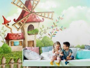Σκηνικό με μύλο Παιδικά Ταπετσαρίες Τοίχου 100 x 100 εκ.